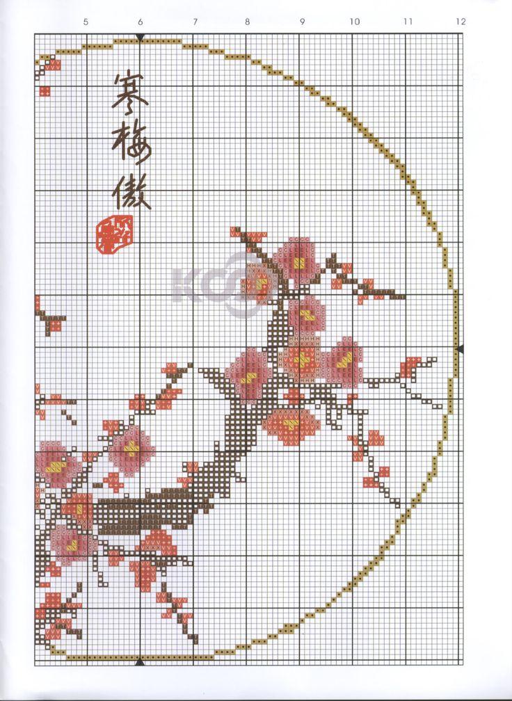 Borduurpatroon Bloem- Plant- Dier *Cross Stitch Flower- Plant- Animal ~Japanse Bloesem 2/2~