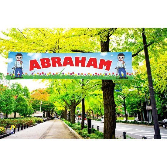Abraham PVC spandoek voor buiten gebruik. Formaat:200 x 50 cm. Aan de zijkant heeft het spandoek ophangogen. Goede kwaliteit PVC spandoek waardoor het regenbestendig is, perfect voor in de tuin.
