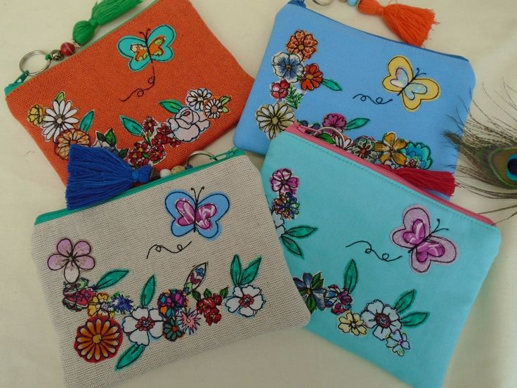Handmade Cosmetic Makeup Bag Purse Blue Floral Butterfly Embroidery Boho gift | eBay