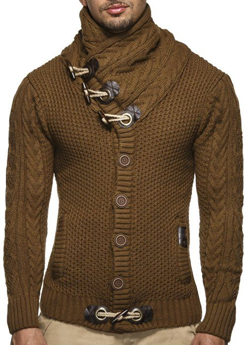 LEIF NELSON cardigan Chaqueta hombres tejer su_ter LN4195; tama-o S, gris