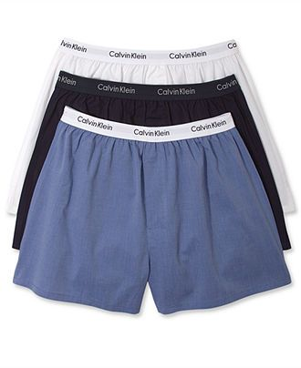 For lazy days: Calvin Klein Men's Underwear, Solid Woven Boxers 3 Pack P9922