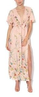 V Neck Spring Maxi Dress in Soft Pink Floral  $69  size xlrg  (rrp $159)