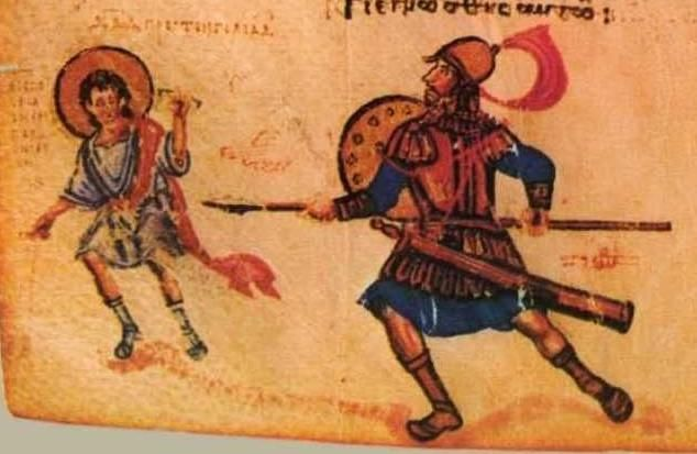 David fights Goliath, Psalm-143, Chludov Psalter, Byzantine, 9th century, Moscow, Historical Museum MS 129