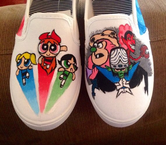 Custom shoes  Powerpuff Girls by Because42CustomKicks on Etsy, $45.00