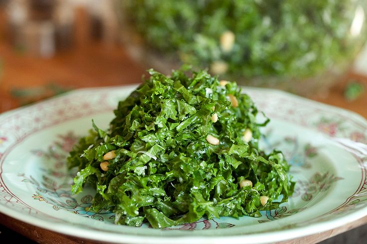 Kale Salad- Lemon juice, olive oil Parmesan cheese.. My favorite way to eat kale
