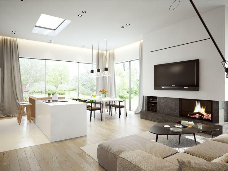 Duże okna w salonie oraz wysoki sufit