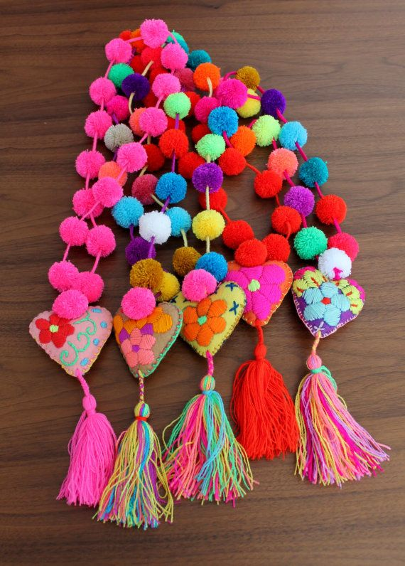Multicolored pom poms necklace with felted heart tassel / colorful mexican accessories / gypsy hippie fashion complements / collar pompones