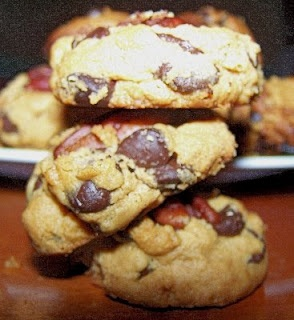 PB2 Chocolate Chip Pecan Cookies with PB2, Splenda, 1 egg, baking soda, salt, sugar-free chocolate chips and pecans.