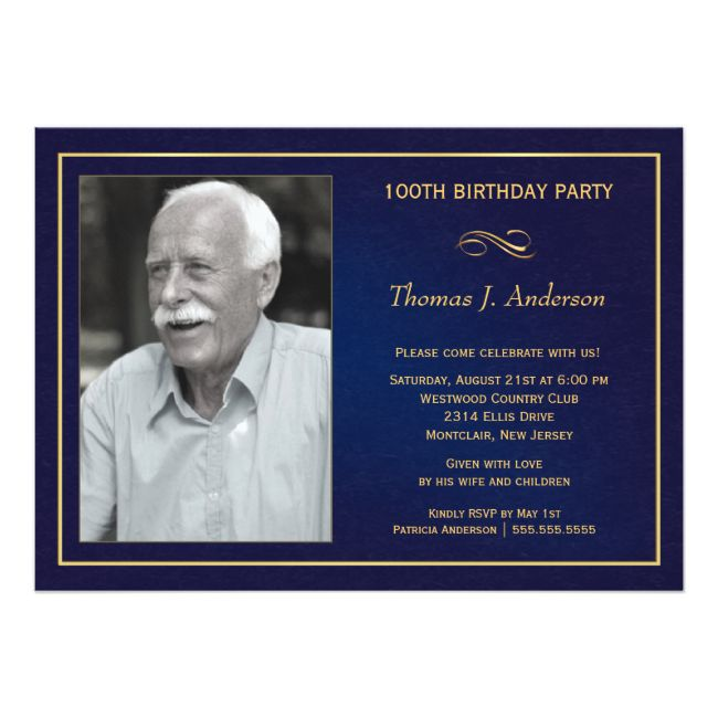 100th birthday party invitations with photo in 2018 bday party