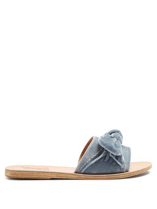le grec ancien sandales taygete bow velours velours velours et cuir orné b41764