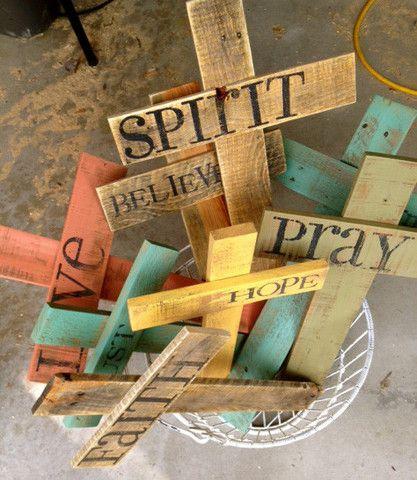 custom rustic crosses- would be an easy diy!