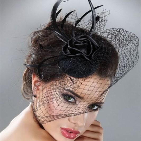 Le Donne Il Matrimonio Da Sposa Birdcage Velo Per Il Partito Prom Piuma Nera Fard Fascinator Mini Cappello Di Velo 2015 Spedizione Gratuita