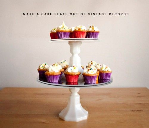 DIY Vintage Cupcake Stand of old Vinyl Records