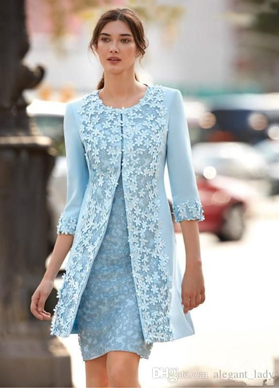 Carla Ruiz 2018 Light Blue Mother Of The Bride Dresses With Jacket