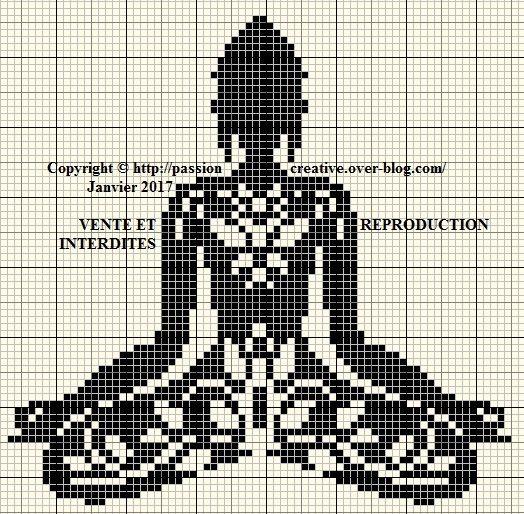 Grille gratuite point de croix : Bouddha zen arabesque noir - Passion creative