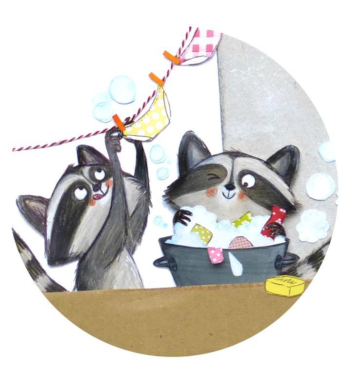 Cute Raccoon Illustration   Cécile Hudrisier