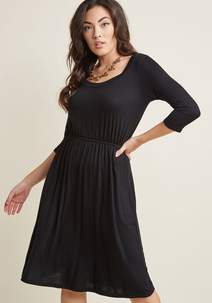<p>Just like your picnic basket is filled with indulgent superfoods, your staple dress is loaded up with loveliness - like a versatile black hue and knit fabric! The comfiest and most versatile look for an easy Saturday, this half-sleeved, ModCloth namesake label A-line makes a sweet statement of casual style.</p>