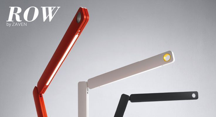 Row (lighting): Table lamp. Pivoting arms in aluminium. 360° rotating base in Zamac. Grip ring in plastic material. Touch dimmer switch. Diffused downward light emission. Available in orange with grip ring in slate grey, white with grip ring in yellow and black with grip ring in anthracite grey. (designer: Zaven | 2013) - More @ www.fontanaarte.com #fontanaarte #light #lamp