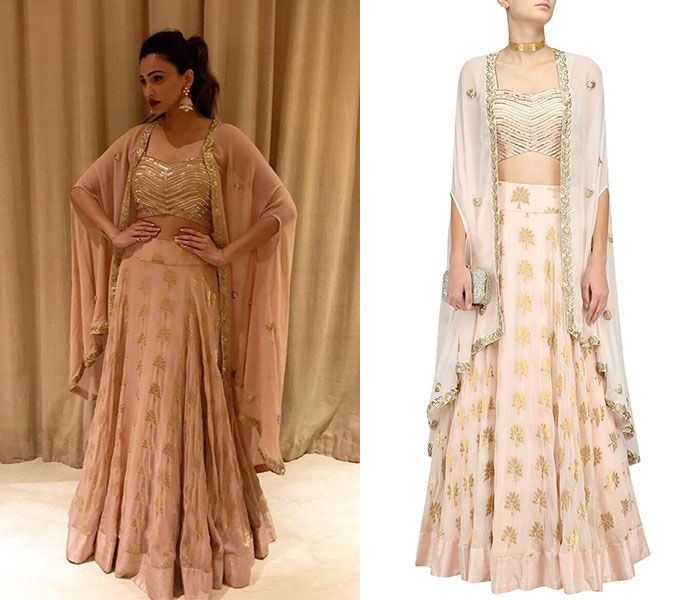 GET THE LOOK  Daisy Shah looks gorgeous in this Pale Pink Floral Embroidered Lehenga, Blouse and Cape Set by Chhavvi Aggarwal. Shop now!  #daisyshah #bollywood #celebritycloset #chhavviaggarwal #indianfashion #indiandesigners