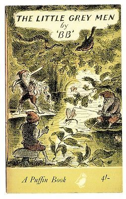 Postcard of Little Grey Men book cover by BB, illustrated by Edward Ardizzone. Part of the Picture Puffin Postcards commemorating book cover illustration art