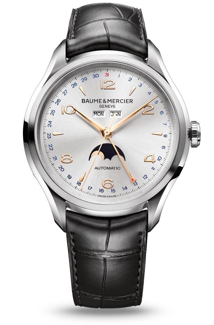 Découvrez la montre homme bracelet cuir à mouvement automatique Clifton 10055, conçue par Baume et Mercier, manufacture de montres suisses.