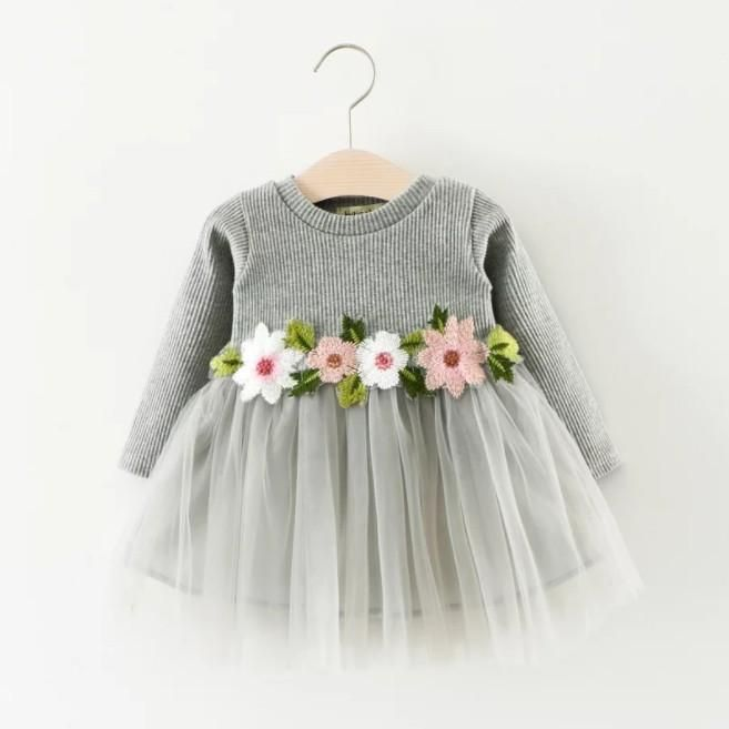 FREE SHIPPING on orders over $35.00 Sweet Flower Long Sleeve Mesh Dress for Baby Girls – cute.patpaty