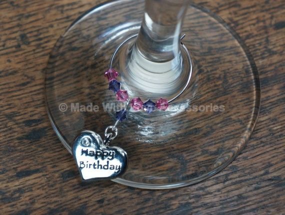 Wine Charms Wine Glass Charms Happy Birthday by Makewithlovecrafts