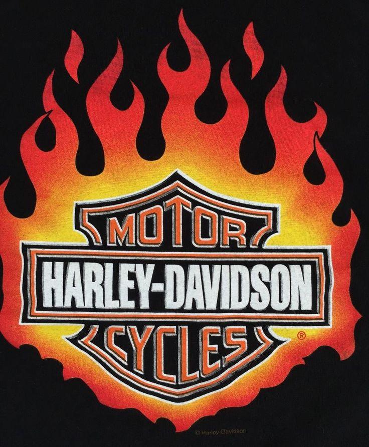 Harley Davidson Motorcycles Medium T Shirt Black Big Logo Delta Cotton Flame Tee  Harley