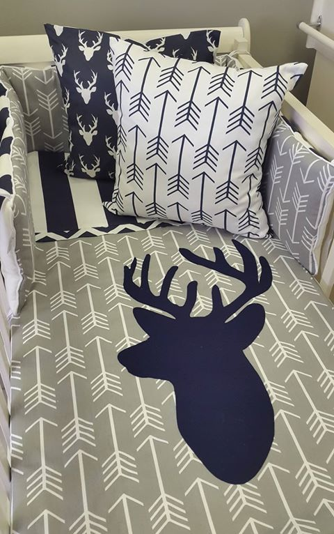 Our #Arrows and #Stripes in #Navy and #Grey are perfect for any #WoodlandTheme nursery; great for any #BabyBoy!  #BabyBedding #BabyLinen