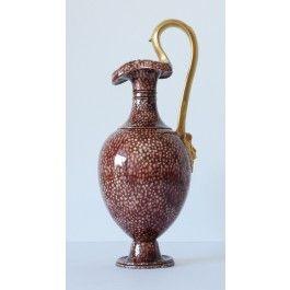 Oenochoe. Brown shagrene glaze. C1800