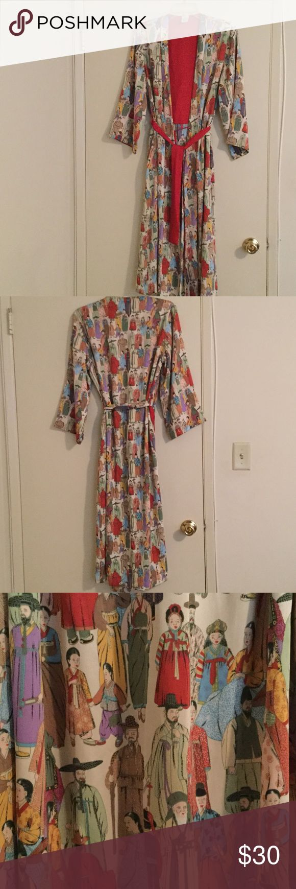 "NATORI Oriental People Design Robe. Size S NATORI Robe with Oriental People Design throughout. Folded Lapel from top to bottom. Partial red interior lining. Inside tie & outside belt. 100% Polyester. Size Small. Approx length 48"". NATORI Intimates & Sleepwear Robes"