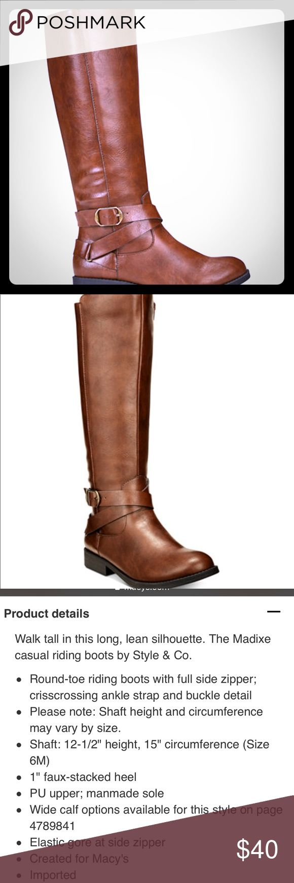 Cognac Boots Size 10 Stylish cognac riding boots. Great boots. Great fit. NWT Size 10. Style & Co Shoes Heeled Boots