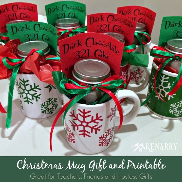 Christmas mug teacher gift with free printable teacher Christmas gift ideas for cooking lovers