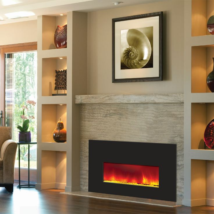 Amantii Small Electric Fireplace Insert w/ 38x25 in. Black Glass Surround  INSERT-26 - 17 Best Ideas About Small Electric Fireplace On Pinterest