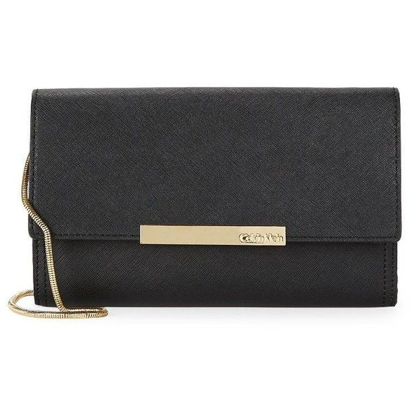 Calvin Klein Women's Flap-Over Embossed Leather Clutch (417.890 COP) ❤ liked on Polyvore featuring bags, handbags, clutches, black gold, genuine leather purse, calvin klein purse, snake embossed handbags, real leather handbags and embossed leather handbags