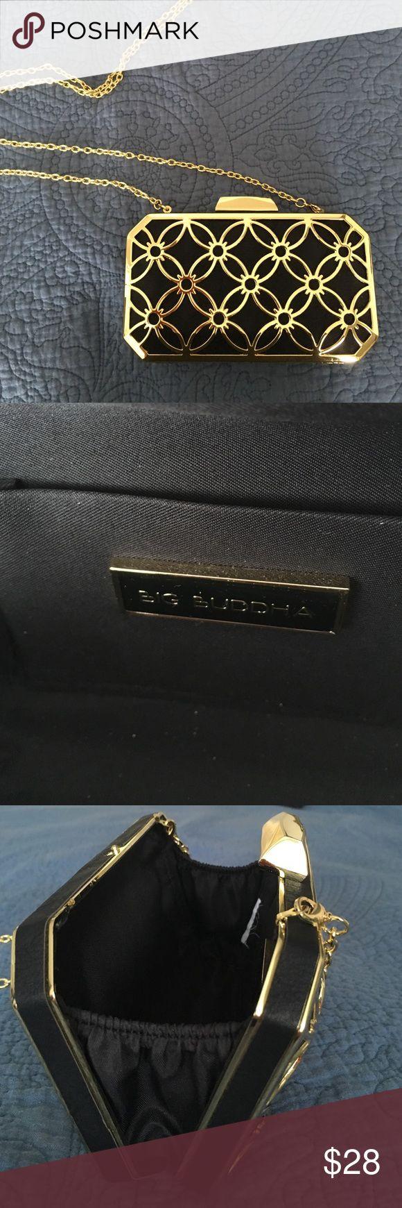 Chain and clutch evening bag gold Evening bag Big Buda Big Buddha Bags Clutches & Wristlets