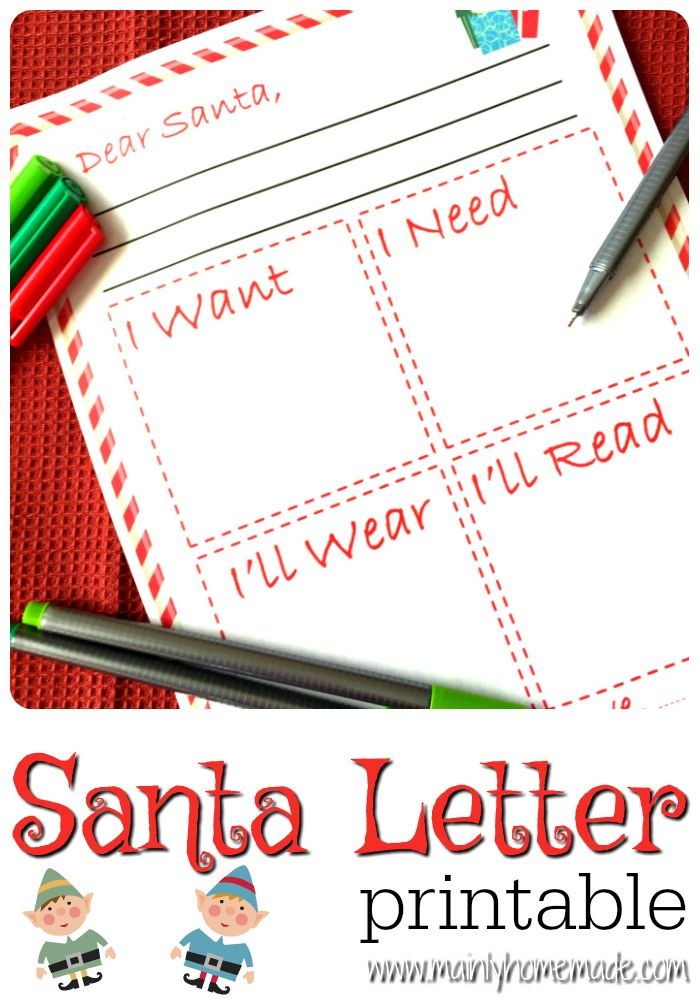 Free letter to Santa printable for Christmas. Print this Santa letter to allow your kids to send a letter to Santa.
