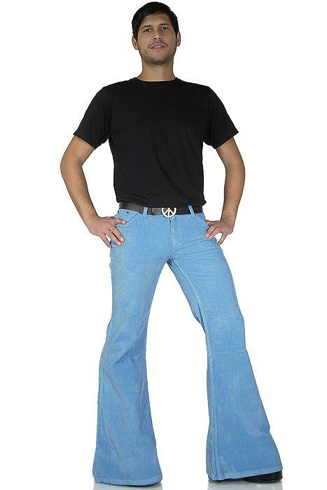 70er Herren Cord Schlaghose hellblau Retro Look   comycom jeans ... 0664bb6626