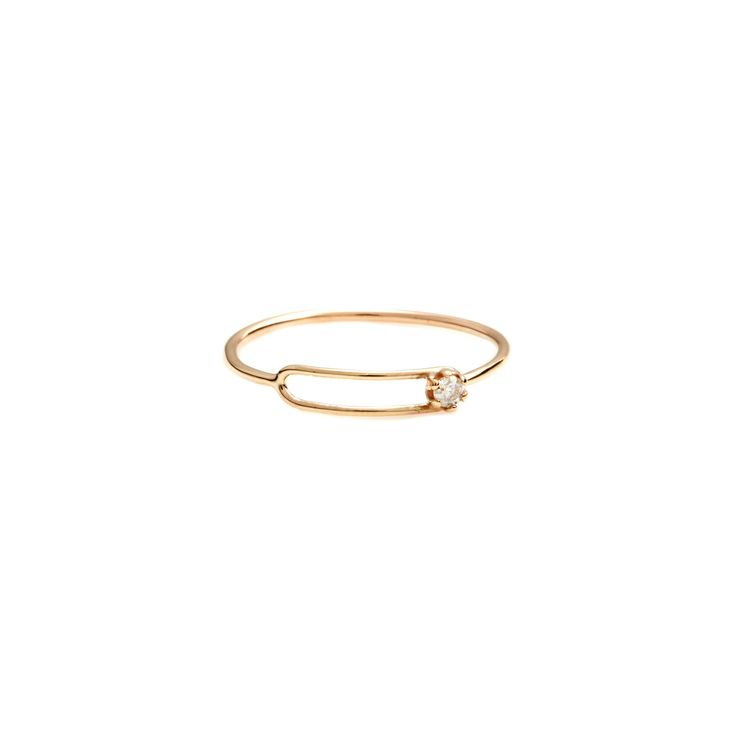 The Small Oblong Ring by SARAH & SEBASTIAN is a band-style ring created in 9k gold featuring an oblong-shaped focal point with a single white diamond. Nickel free.