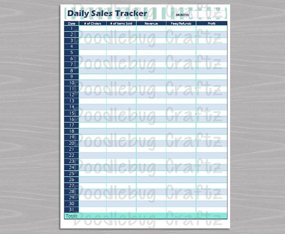 the easy life etsy seller daily sales tracker instant download