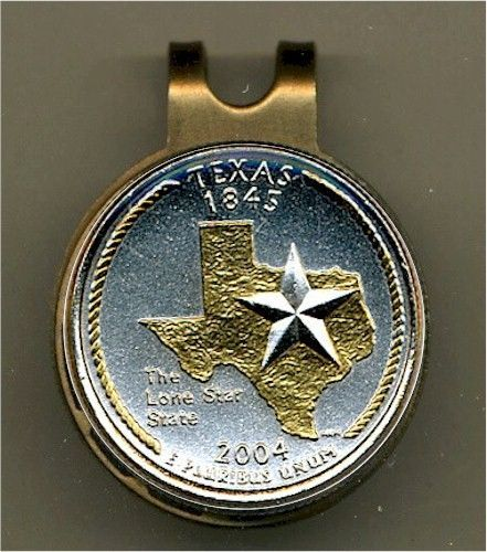 "Handcrafted ""Gold on Silver"" Commemorative Texas State Quarter Golf Ball Marker"