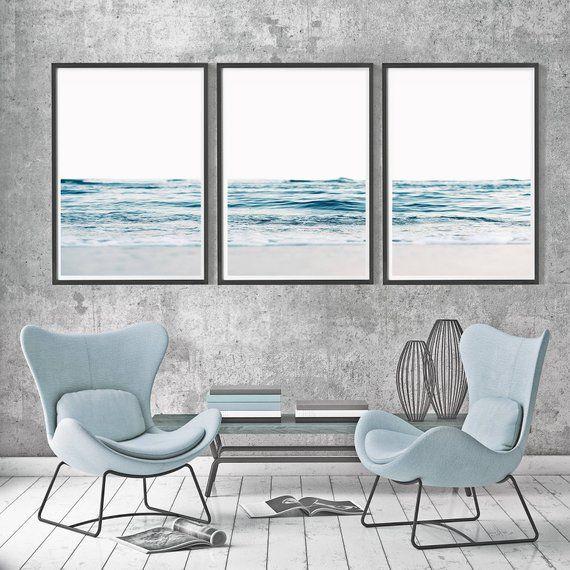Blue Waves Posters 3 Piece Waves Ocean Waves Set Large Waves Set 3