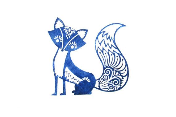 Fancy Fox Rubber Stamp With Wood Backing por SweetSpotStampShop