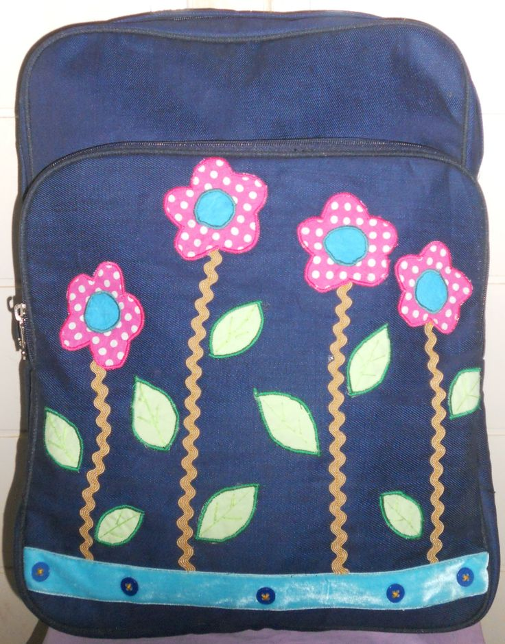 life garden backpack jeans as main material with application patchwork from cotton with laptop case inside