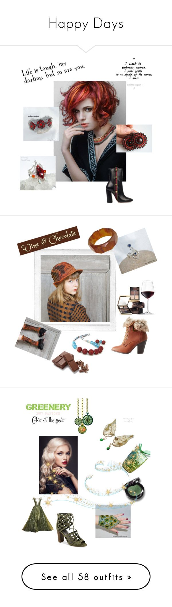 """""""Happy Days"""" by lyriel-moonshadow ❤ liked on Polyvore featuring Gucci, Polaroid, Charlotte Russe, Bobbi Brown Cosmetics, G by Guess, Murad, art, Alpha Industries, Anya Hindmarch and Avon"""