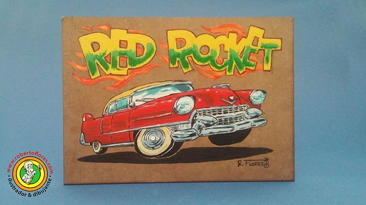 A #cartoon #painting of a #1950s #Cadillac Fleetwood #classiccar. Artwork currently for sale. www.robertoflores.com