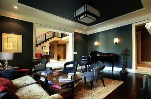 Dark green walls white trim interior design design - Paint colors for a dark living room ...