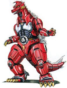 Mechagodzilla (メカゴジラ Mekagojira) is a fictional mecha that first appeared in the 1974 film Godzilla vs. Mechagodzilla as an extraterrestrial villain opposing Godzilla. In subsequent iterations, Mechagodzilla is depicted as a man-made weapon designed to defend Japan from Godzilla. In all incarnations, Mechagodzilla appears as a robotic doppelgänger and arch-enemy of Godzilla, boasting a vast array of weaponry.