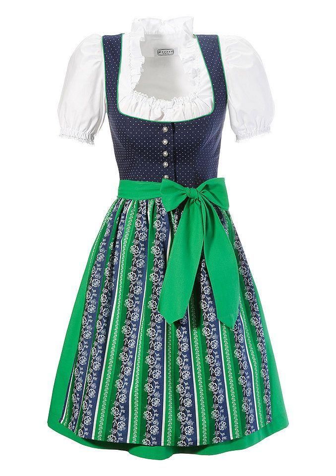 Kurzes Dirndl aus reiner Baumwolle, Hannah (3tlg.) ab 161,99€. Kurzes Dirndl mit Bluse, Praktischer Knopfverschluss, Frische Farbkombination bei OTTO