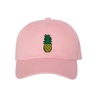 Official It's Ricco tho Pineapple Dad Cap - Pink 100% cotton chino twill Unstructured, low-profile, six-panel dad cap Permacurv® visor Buckle closure with grommet